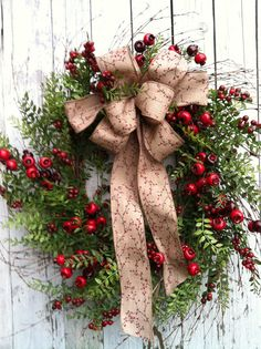 Country Christmas Wreath  Berry Wreath for by marigoldsdesigns, $87.00