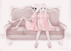 I like to always keep my eyes peeled for new little pieces of art, inspiration, and all things creepy/cute – this incredible art by Saccharine Strychnine… Art Kawaii, Anime Kawaii, Arte Horror, Horror Art, Pastel Goth Art, Creepy Art, Craft Stick Crafts, Gothic Art, Artsy Fartsy