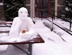 Snow-customer at the Lucky Lab brewpub during the great snow and ice storm of February 2014.