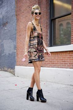 a sequin-covered sheath and a platform ankle boot #dress up.
