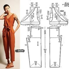 ✂You can find Jumpsuit pattern and more on our website. Sewing Pants, Sewing Clothes, Sewing Coat, Jumpsuit Pattern, Pants Pattern, Dress Sewing Patterns, Clothing Patterns, Patterns For Dresses, Skirt Patterns