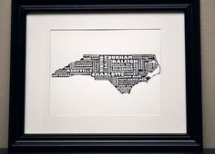 NORTH CAROLINA Art Print - Cities of NC Collage (Customize or Choose Your Own State). $12.50, via Etsy.