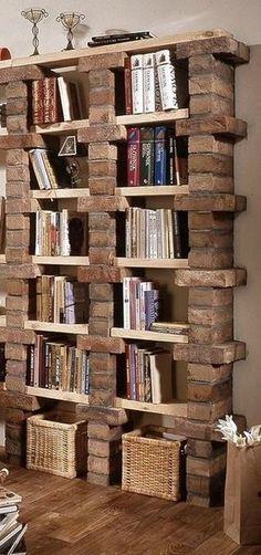 librero ladrillos decorar