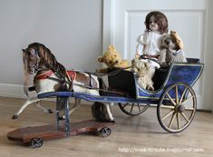 antique doll on display. Doll in a horse drawn toy wagon, with teddies. Victorian Dolls, Vintage Dolls, Toy Wagon, Wooden Horse, Doll Display, Hobby Horse, Carousel Horses, Retro Toys, Antique Toys