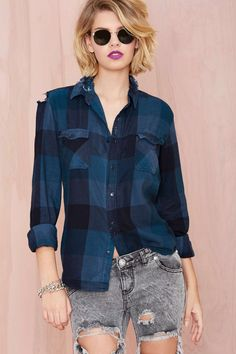 After Party Vintage Surefire Flannel - Navy | Shop Tops at Nasty Gal
