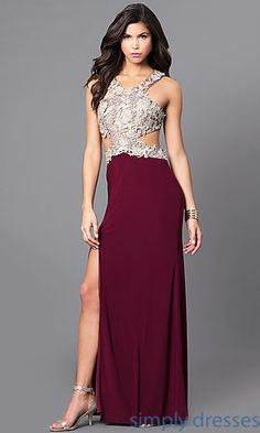 Shop gold and wine red long prom dresses at Simply Dresses. Junior-sized formal dresses under $200 with lace appliques, cut outs and side slits.