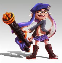 Recently switched over to the Heavy Splatling in Splatoon! This one took a really long time to make, but it was worth it! Inkling with Splatling Game Character Design, Character Design Inspiration, Zine, Fanfiction, Evolution, Princess Zelda, Deviantart, Drawings, Artwork