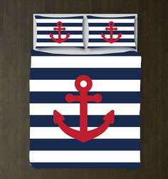Custom Nautical Duvet Bedding Set-Navy Blue-White Stripes-Brick Red Anchor-CUSTOMIZE COLORS-Twin, Full/Queen, King-Girls Room-Preppy Decor