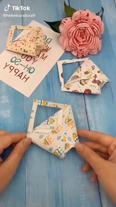 Paper Crafts Origami, Diy Crafts For Gifts, Paper Crafts For Kids, Origami Art, Creative Crafts, Easy Crafts, Paper Gifts, Flower Crafts, Cards