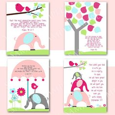 Nursery Wall art with Bible Verses Girl by littlebirdieprints