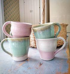 Wheelthrown pastel coloured mugs Ceramic Mugs, Vintage Fashion, Pastel, Pottery, Ceramics, Tableware, Color, Ceramica, Ceramica