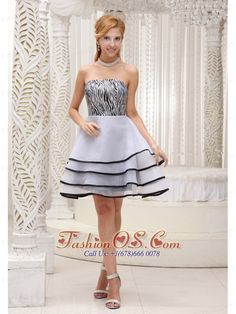 Fashionable Grey 2013 Prom / Homecoming Dress With Mini-length A-line Tiered Strapless Organza and Zebra Gown- $107.59  http://www.fashionos.com   prom dress on sale | free shipping all over the world | inexpensive prom dress | custom made prom dresses | online prom dress store | a dress of elegance for your prom | mini length prom dress | flowing dancing dress | prom dress at discount | online dress store |