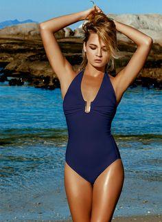 NEW Women/'s BEACH By Melissa Odabash One Piece Stripe Blue White Size SMALL S