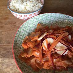 Stoofpot van bataat en witte kook met saus van gember en pindakaas | Tuur met Pruimen