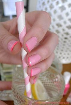Neon Pink French Manicure