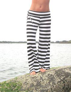 BLACK WHITE STRIPE rayon palazzo (wide leg, goucho) yoga lounge beach pants with  side drawstring on Etsy, $50.00