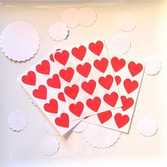 Red Heart Stickers Seals Labels for Paper Crafts Scrapbooking | ghostdove - on ArtFire