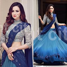 Here r the individual looks of my bridal blues shoot with Outfit . Half Saree Lehenga, Lehnga Dress, Indian Lehenga, Bridal Lehenga Choli, Indian Gowns, Indian Attire, Indian Ethnic Wear, Pakistani Dresses, Anarkali