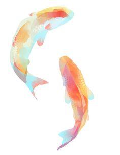 Koi fish (tissue paper and/or watercolor? Watercolor Fish, Watercolor Paintings, Tattoo Watercolor, Watercolour, Art Asiatique, Art Japonais, Art Et Illustration, Fish Art, Art Design
