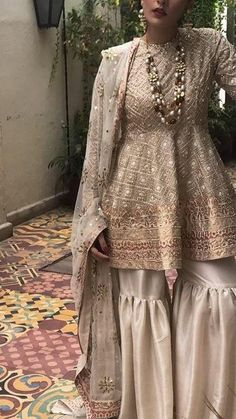 Bridal gharara set for nikah bride in offwhite color with golden work Model 537 Indian Fashion Trends, Indian Bridal Fashion, Indian Bridal Wear, Indian Designer Outfits, Indian Outfits, Asian Bridal, Designer Dresses, Pakistani Wedding Outfits, Bridal Outfits