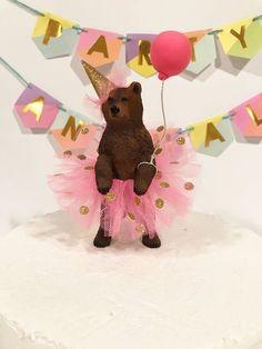 Princess Birthday Bear Cake Topper, Grizzly Bear Cake Topper, Ballerina Bear Cake Topper, Animal Birthday Cake Topper, Grizzly Bear In Tutu - birthday Cake White Ideen Animal Themed Birthday Party, Animal Birthday Cakes, Bear Birthday, Birthday Table, Birthday Cake Toppers, 2nd Birthday Parties, Princess Birthday, Party Animals, Animal Party