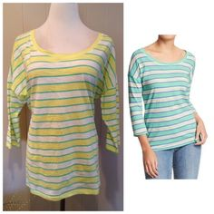 "Striped tee Like new striped boat neck tee. Slub shoulders with 3/4 sleeves. Brand Old Navy. Size XL: 24""UA, 27""L. Old Navy Tops"
