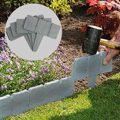5M Grey Stone Effect Lawn Grass Edging | Garden Plant Flower Bed Border | M&W #ebay #Home & Garden