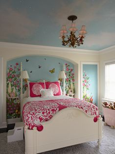 Bedroom Design, Beauty Traditional Kids Bedroom With Unique Vintage Bedroom Ceiling Lights And Elegant White Bed Divan Also Cute Blue Wall Accent Color With Garden And Buterfly Wall Sticker Also Gray Fur Rug: String and Chandelier Bedroom Ceiling Light