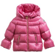 Baby girls down padded jacket by Moncler. Soft and lightweight, it has a removable hood and gold coloured zips with logo tabs and the wrists and hem are elasticated.<br /> <ul> <li>100% polyamide (soft, silky and lightweight)</li> <li>Padding: 90% down, 10% feather</li> <li>Machine wash (30*C)</li> <li>Removable hood</li> <li>Zip-up</li> <li>Style name: Chantilly</li> </ul>