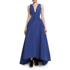 Carolina Herrera Sleeveless High-Low Faille Ball Gown ($5,280) ❤ liked on Polyvore featuring dresses, gowns, cobalt, full skirt, blue gown, high low gown, blue high low dress and blue sleeveless dress