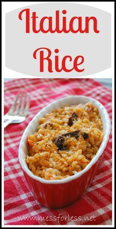 Easy Italian Rice - Just a few ingredients transform brown rice in an Italian feast. #rice #recipe