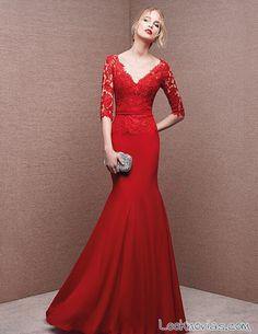 vestido largo en color rojo san patrick