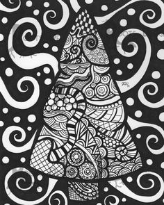 Instant Download Printable Christmas zentangle от RootsDesign