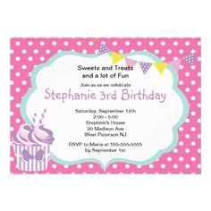 Pink Cupcake Girls 2nd Birthday Party Invitation