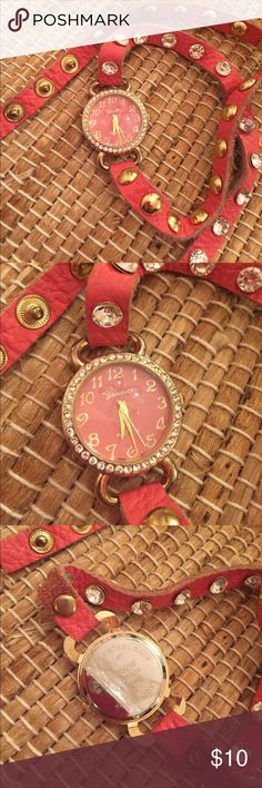 Coral wrap watch 🐚 Coral leather wrap watch! Perfect condition with the protective sticker on the back. Accessories Watches
