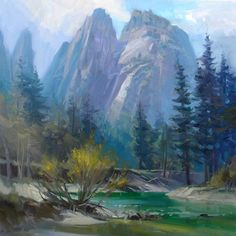 Richard Robinson Gallery - Oil painting of Yosemite Valley in the Spring.