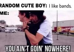 "This basically happened no joke. There's this really cute guy at my school with flippy hair, snake bites. We Have all the same classes. One day I over heard him talking to his friend he said ""ya my favourite bands is mcr, bvb, ptv, sws ect."" I slammed my locker shut ran over and jumped on his back and said ""we like the same music. We are now my best friend. To class!"" Then he actually walked away from his friend and to class with me still on his back.<<Repinning for that cute story"