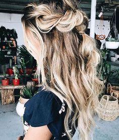Braid half up half down hairstyle