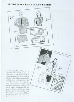 1940s, re-cut and re-cycle - make do and mend, how to cut garments from men's shirts