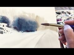 Watercolor landscape painting: wet-in-wet to create distance - YouTube