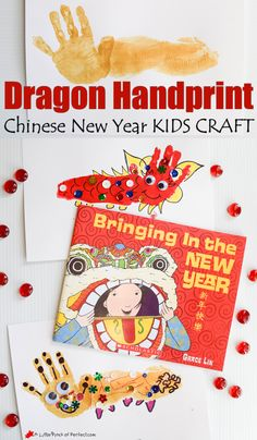 Dragon Handprint Chinese New Year Craft für Kinder - neues Jahr Chinese New Year Images, Chinese New Year Crafts For Kids, Chinese New Year Activities, Chinese New Year Food, Chinese Crafts, New Years Activities, Chinese New Year 2020, Holiday Crafts For Kids, Art For Kids