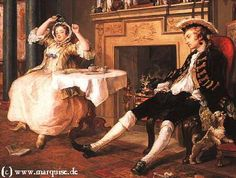 "Mariage à la mode (""The day after"") by Hogarth, 1743  National Gallery, London"