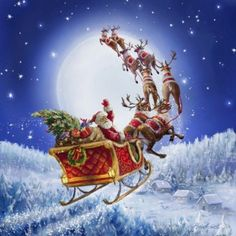 Merry Christmas to all and to all a Goodnight! By Marcello Corti Old Time Christmas, Old Fashioned Christmas, Magical Christmas, Christmas Scenes, Vintage Christmas Cards, Santa Christmas, Christmas Pictures, Christmas Greetings, Winter Christmas