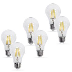 Artiva USA LED Filament Light Bulb 2700K Warm Light True 360-degree Beam Angle (Set of 6) (6-Pack,2700K), White (Glass) Led Globe Lights, Led Candle Lights, Dimmable Light Bulbs, Edison Lighting, Cool Floor Lamps, Types Of Lighting, Beams, Warm, Usa