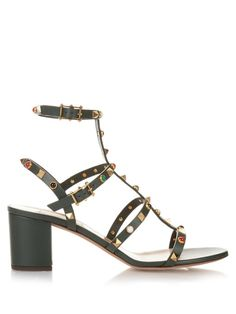VALENTINO Rockstud Rolling Leather Sandals. #valentino #shoes #sandals