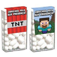Adesivo Especial para Tic Tac Minecraft STEVE e TNT - 08 unidades -