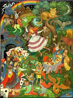 Alice in Wonderland Palekh 2008 Smirnova Vera Alice In Wonderland Illustrations, Russian Folk Art, Fairytale Art, Adventures In Wonderland, Lewis Carroll, Surreal Art, Fantasy Art, Fairy Tales, Art Projects