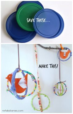 Upcycle: DIY Vogel Mobile made of plastic lids My upcycling home: DIY bird car made of plastic lids Upcycled Crafts, Crafts From Recycled Materials, Mobile Craft, Bird Mobile, Mobiles, Spring Arts And Crafts, Reuse Plastic Bottles, Diy Recycle, Toddler Crafts