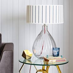 Glass pumpkin table lamp by Graham and Green