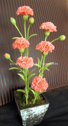 Carnation -Thai clay flowers
